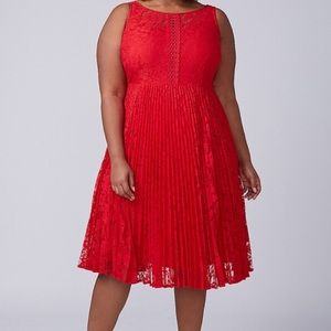 Lane Bryant pleated red lace fit & flare  Dress